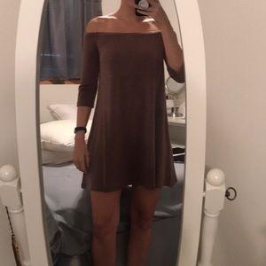 off the shoulder light pink/purple dress